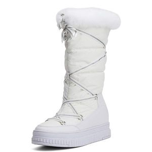 Women's Winter Flat Mid-Calf Snow Boots with Rabbi